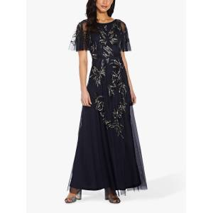 Adrianna Papell Beaded Mesh Floral Maxi Gown, Midnight  - Blue - Size: 10