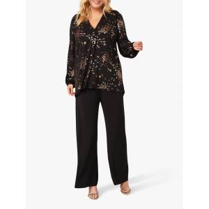 Studio 8 Carly Floral Foil Top, Black/Gold  - Multi - Size: 24