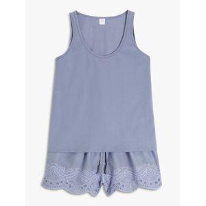 John Lewis & Partners Bobbie Tank And Cropped Trousers Pyjama Set, Blue  - Blue - Size: 14