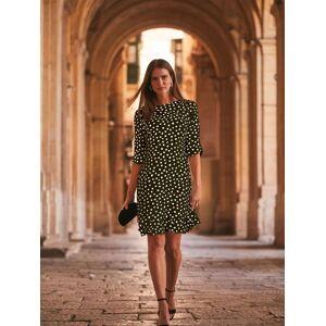 Sosandar Spot Print Ruffle Hem Dress, Black  - Black - Size: 20