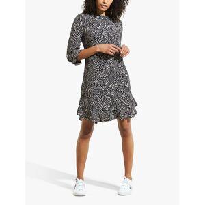 Sosandar Zebra Print Ruffle Hem Dress, Neutral  - Neutrals - Size: 20