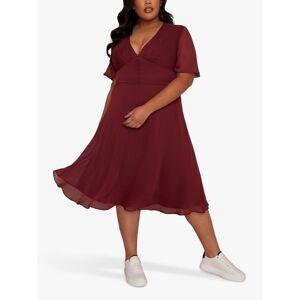 Chi Chi London Curve Emmanuelle Dress, Burgundy  - Red - Size: 20