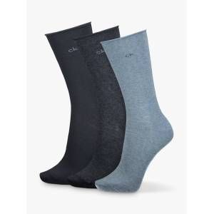 Calvin Klein Emma Roll Top Ankle Socks, Pack of 3  - Blue Combo 005
