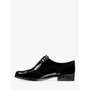 Clarks Hamble Leather Lace Up Brogues  - Black Patent - Size: 6.5