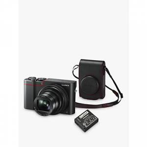 Panasonic Lumix DMC-TZ100KITEB-R Digital Camera, 4K Ultra HD, 20.1MP, 10x Optical Zoom, Wi-Fi, EVF, 3 LCD Touch Screen with Leather Camera Case