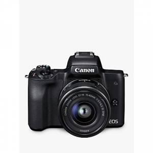 Canon EOS M50 Compact System Camera with EF-M 15-45mm f/3.5-6.3 IS STM lens, 4K Ultra HD, 24.1MP, Wi-Fi, Bluetooth, NFC, OLED EVF, 3 Vari-Angle Touch Screen  - Black