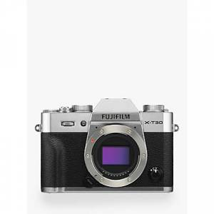 """Fujifilm X-T30 Compact System Camera, 4K Ultra HD, 26.1MP, Wi-Fi, OLED EVF, 3"""" LCD Touch Screen, Body Only  - Silver"""