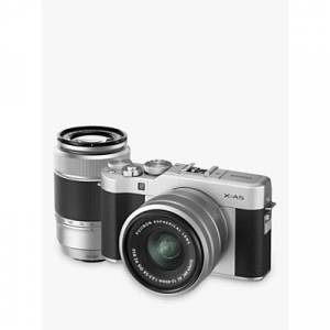 Fuji X-A5 Compact System Camera with XC 15-45mm OIS Lens & XC 50-230mm OIS Lens, 4K Ultra HD, 24.2MP, Wi-Fi, Bluetooth, 3� Tiltable LCD Touch Screen, Double Lens Kit