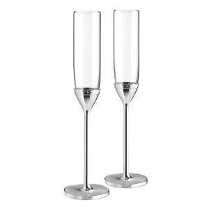 Vera Wang for Wedgwood 'With Love' Silver Plated Flutes, Set of 2, Clear