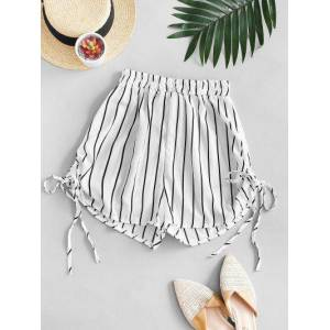 Zaful Striped Cinched Tie Casual Shorts  - WHITE - Size: Large