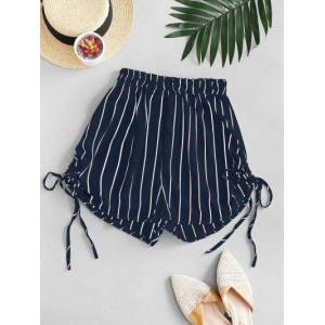 Zaful Striped Cinched Tie Casual Shorts  - DEEP BLUE - Size: Large