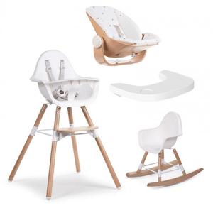 Childhome Evolu 2 Highchair & Newborn Seat + Accessories - White