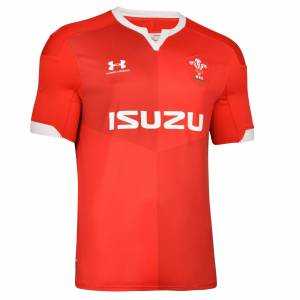 Under Armour Wales 2019/20 Kids Home Rugby Shirt, Red / L