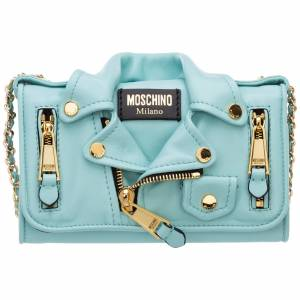 Moschino Women's wallet genuine leather coin case holder purse card biker  - Light blue