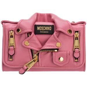 Moschino Women's wallet genuine leather coin case holder purse card biker  - Pink