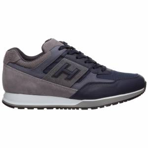 Hogan Men's shoes leather trainers sneakers h321  - Men - Grey - Size: 41.5