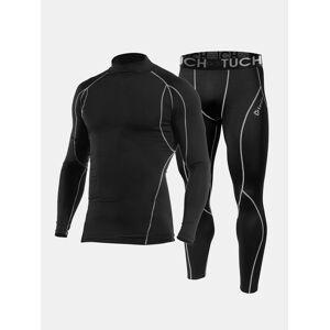 Newchic Men Sports Skinny Thermal Underwear Set Cotton Wicking Patchwork Workout Plain Sportswear