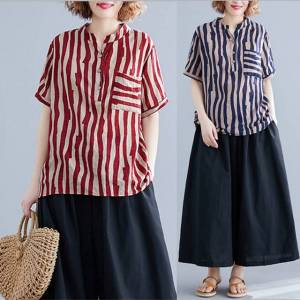 Newchic Temperament Commute Casual Large Size Women's Striped Loose Comfortable Wild Season Shirt