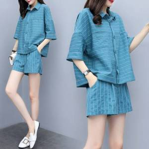 Newchic Season New Fashion Casual Large Size Striped Wide Leg Shorts Two-piece Slimming Net Red Suit Female
