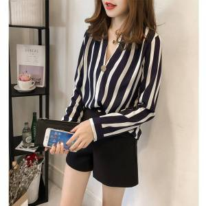 Newchic Women's Loose Large Size V-neck Striped Shirt Long-sleeved Shirt Casual