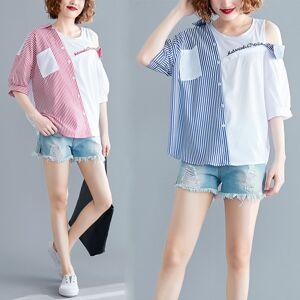 Newchic Season Large Size Women's Fat Mm Fashion Stitching Striped Off-shoulder Shirt Fake Two-piece Wild Thin Shirt