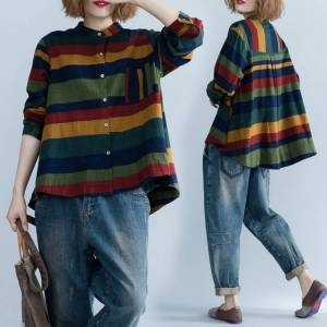 Newchic New Product Loose Slimming Comfortable Casual Large Size Women's Pocket Fashion Trend Striped Shirt
