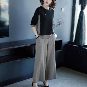 Newchic Casual Knitted Wide-leg Pants Suit Goddess Foreign Two-piece Suit