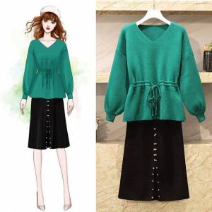 Newchic Large Size Women's Foreign Fat Sister V-neck Knit Lace Sweater Beaded Skirt Two-piece Female