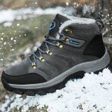 Newchic Men Outdoor Warm Plush Lined Non Slip Lace Up Hiking Climbing Boots