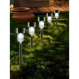 Newchic 16pcs LED Solar Stainless Steel Lawn Lamps Garden Outdoor Landscape Path Light