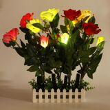 Newchic Led Solar Power Panels Light Rose Flower Garden Party Outdoor Night Lamp