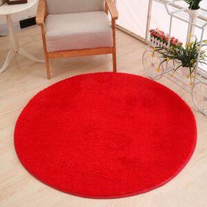 Newchic Red Round Shaggy Rug Long Hair Faux Fur Decorative Luxury Carpet Mat Rug