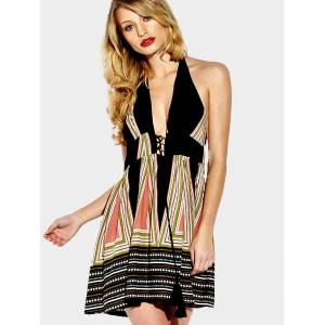 Yoins Plunge Self-tie Halter Neck Lace-up Multicolor Stripe Pattern Open Back Mini Dress