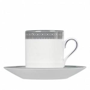 Wedgwood Vera Wang Lace Platinum 80ml Coffee Cup & Saucer