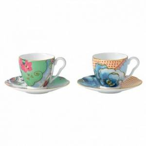 Wedgwood Butterfly Bloom Set of 2 Espresso Cups and Saucers