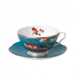 Wedgwood Paeonia Blush Tea Cup & Saucer Green
