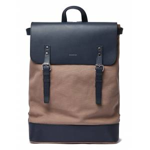 Sandqvist Hege Backpack in Earth Brown with Navy Leather