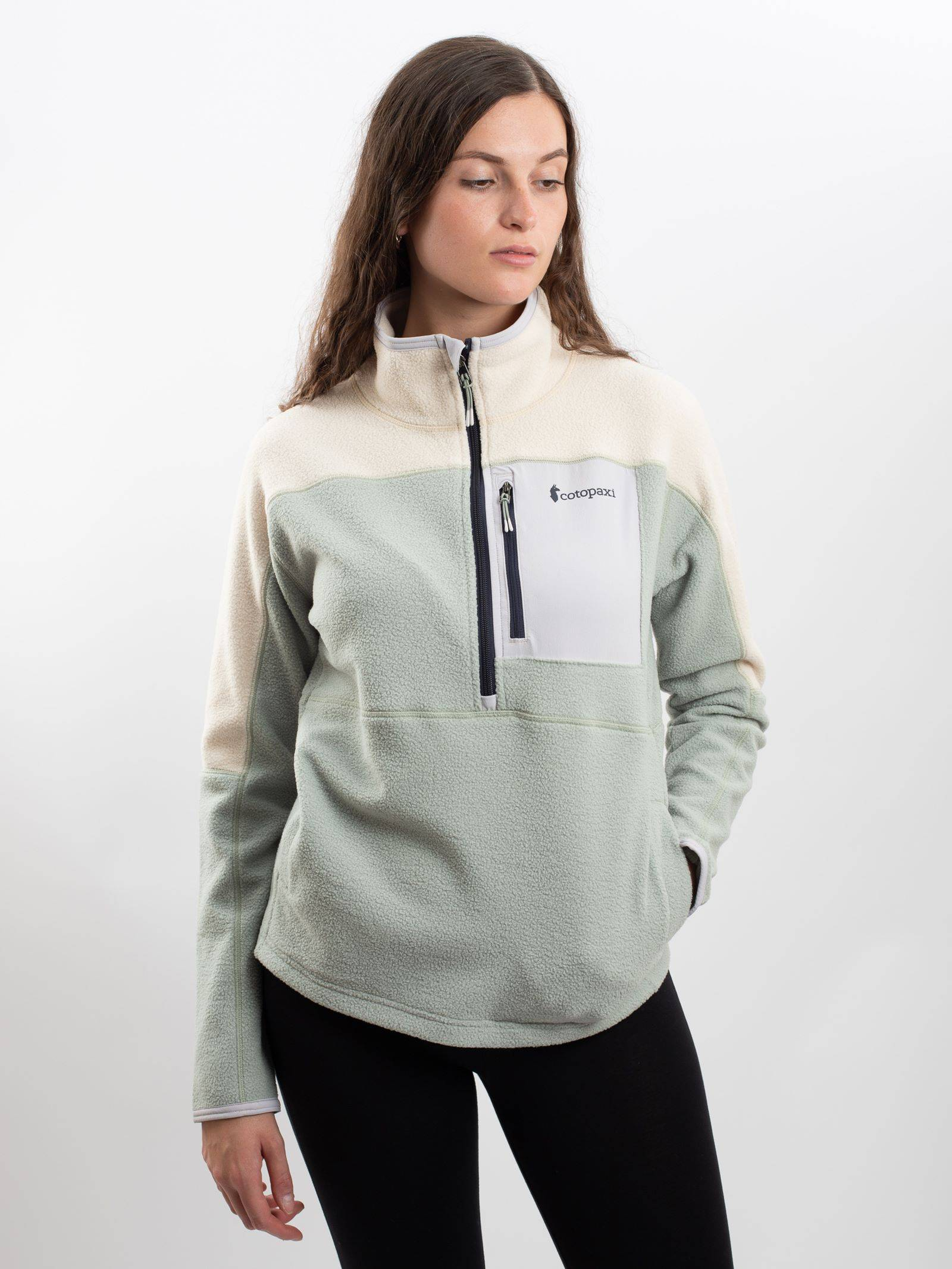 Cotopaxi Women's Abrazo Half-Zip Fleece Jacket In Cream & Brush  - Green - Size: Medium