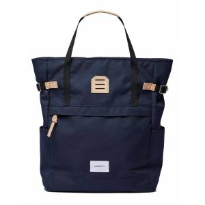Sandqvist Roger Totepack In Navy With Natural Leather  - Blue