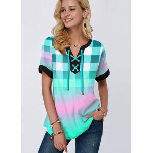 Rotita Short Sleeve Striped Print Green Blouse