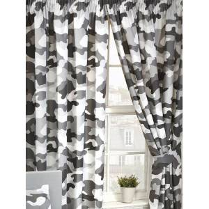 Army Grey Army Camouflage Lined Curtains