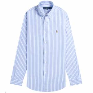 Ralph Lauren Custom Fit Striped Oxford Shirt Blue/White  - BLUE/WHITE - Size: Medium
