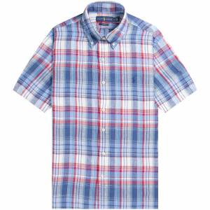 Ralph Lauren 'Custom Fit' Gingham Linen Shirt Red/Blue  - Red/Blue - Size: Extra Large