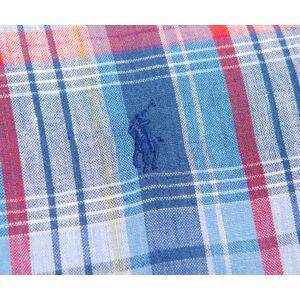 Ralph Lauren 'Custom Fit' Gingham Linen Shirt Red/Blue  - Red/Blue - Size: 2X-Large