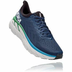 Hoka One One Mens Clifton 7 Road Running Shoes Trainers - UK 8 /...; Blue, Textile