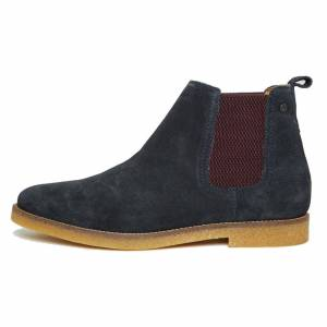 Base London Mens Ferdinand Suede Leather Chelsea Ankle Boots - UK 5.5; Blue, Leather