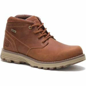 Caterpillar Mens Elude Waterproof Wide Fit Cat Ankle Boots- UK 11; Brown, Leather