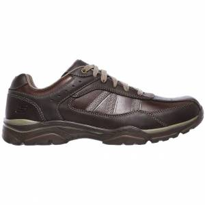 Skechers Mens Rovato Texon Wide Fit Leather Lace Up Shoes - UK 8 - Brown