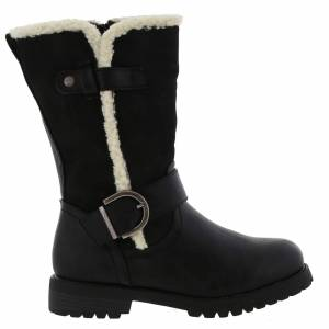 Cipriata Womens Donna Faux Fur Biker Style Boots - UK 6; Black, Synthetic