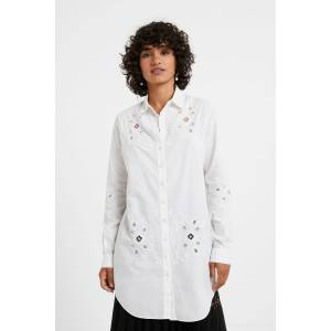 Desigual Perforated embroidery shirt - WHITE - XS